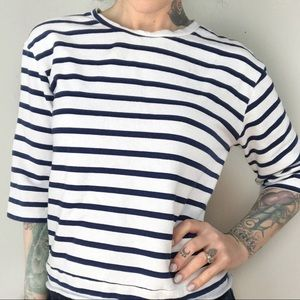 ZARA High Crew Neck Stripe Cropped Sweatshirt